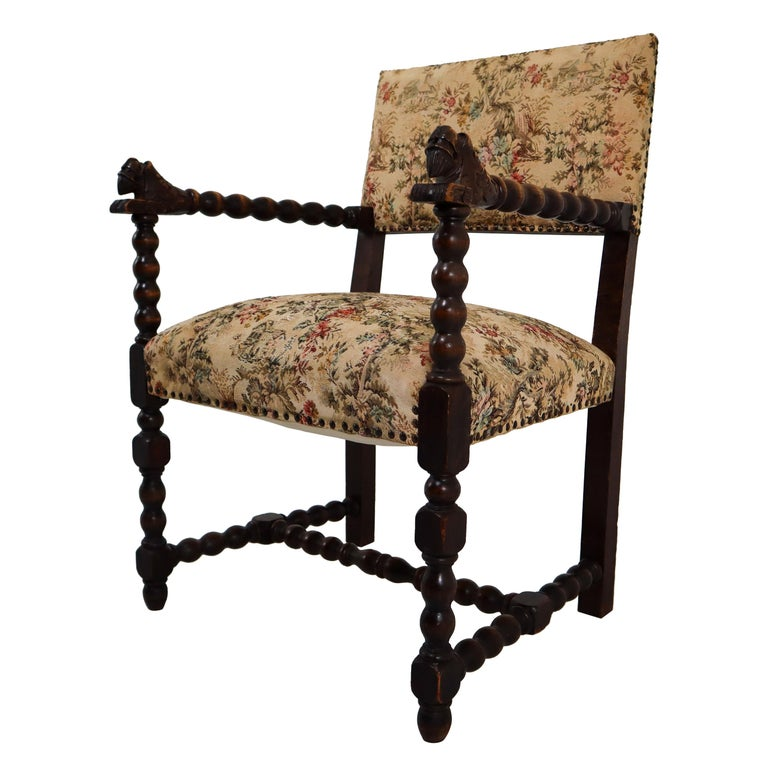 French 19th Century Carved Oak Armchair with Original Fabric, 1870