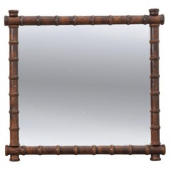 French 19th Century Carved Oak Faux Bamboo Mirror