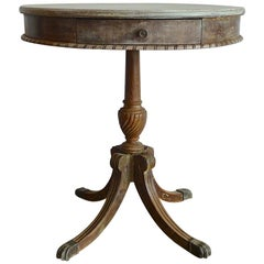 French 19th Century Carved Painted Round Pedestal Side Table with One-Drawer