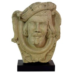 French 19th Century Carved Stone Head