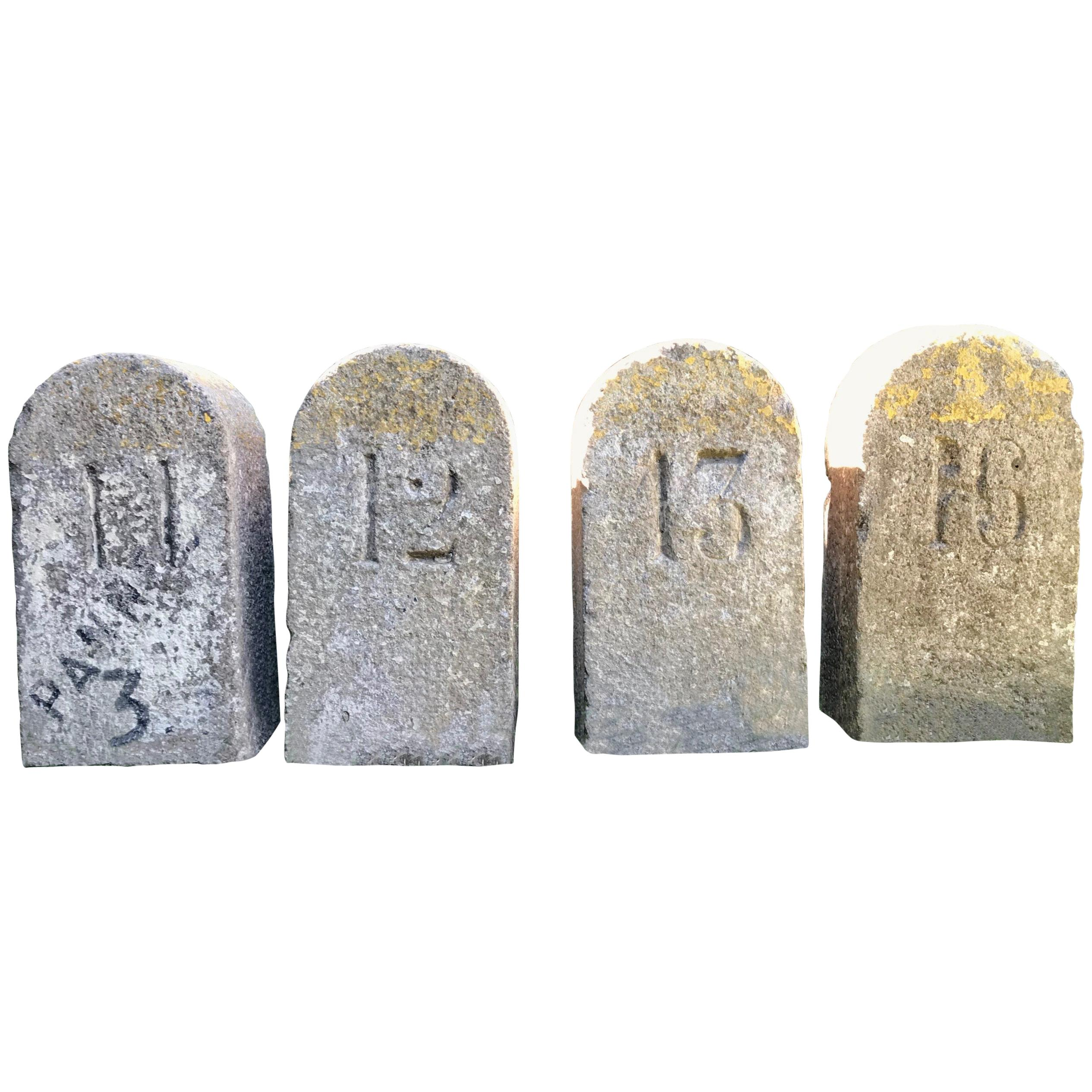 French 19th Century Carved Stone Markers Numbered 11, 12, 13 and 16