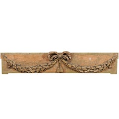 French 19th Century Carved Wood Hanging Wall Plaque with Swagged Wreath