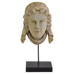 French 19th Century Carved Wood Head Fragment