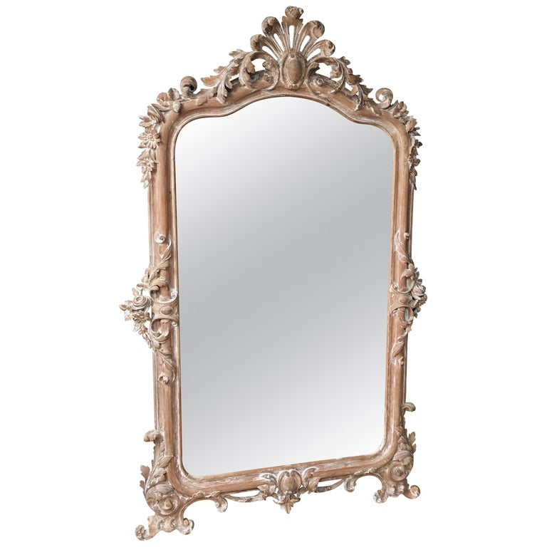 French 19th Century Carved Wood Mirror For Sale