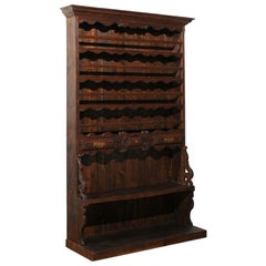 French 19th Century Carved Wooden Faux-Palier Cupboard from Normandy