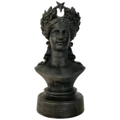 """French 19th Century Cast Iron Bust of """"Marianne"""" Signed and Dated"""