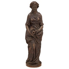 French 19th Century Cast Iron Fountain of a Maiden, Signed A. Durenne, Sommevoir