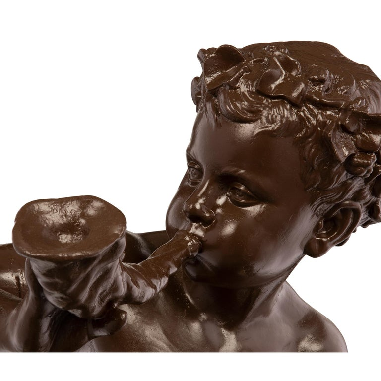 French 19th Century Cast Iron Statue of a Young Boy, Signed 'A. DURENNE, Paris' For Sale 5
