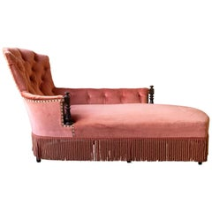 French 19th Century Chaise Lounge in with Ebonized Wood Trim