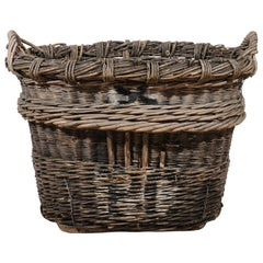 French 19th Century Champagne Harvesting Wicker Baskets with Lateral Handles