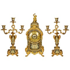 French 19th Century Champleve Enamel Clock Set