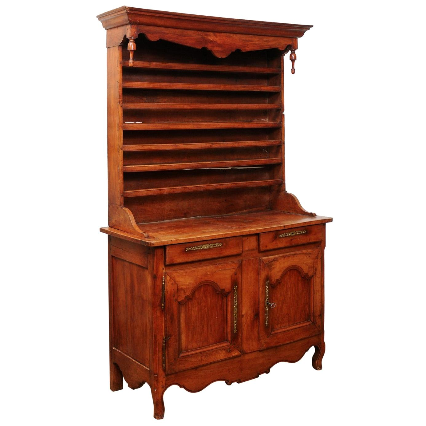 French 19th Century Cherry Vaisselier from the Charente Region with Finials