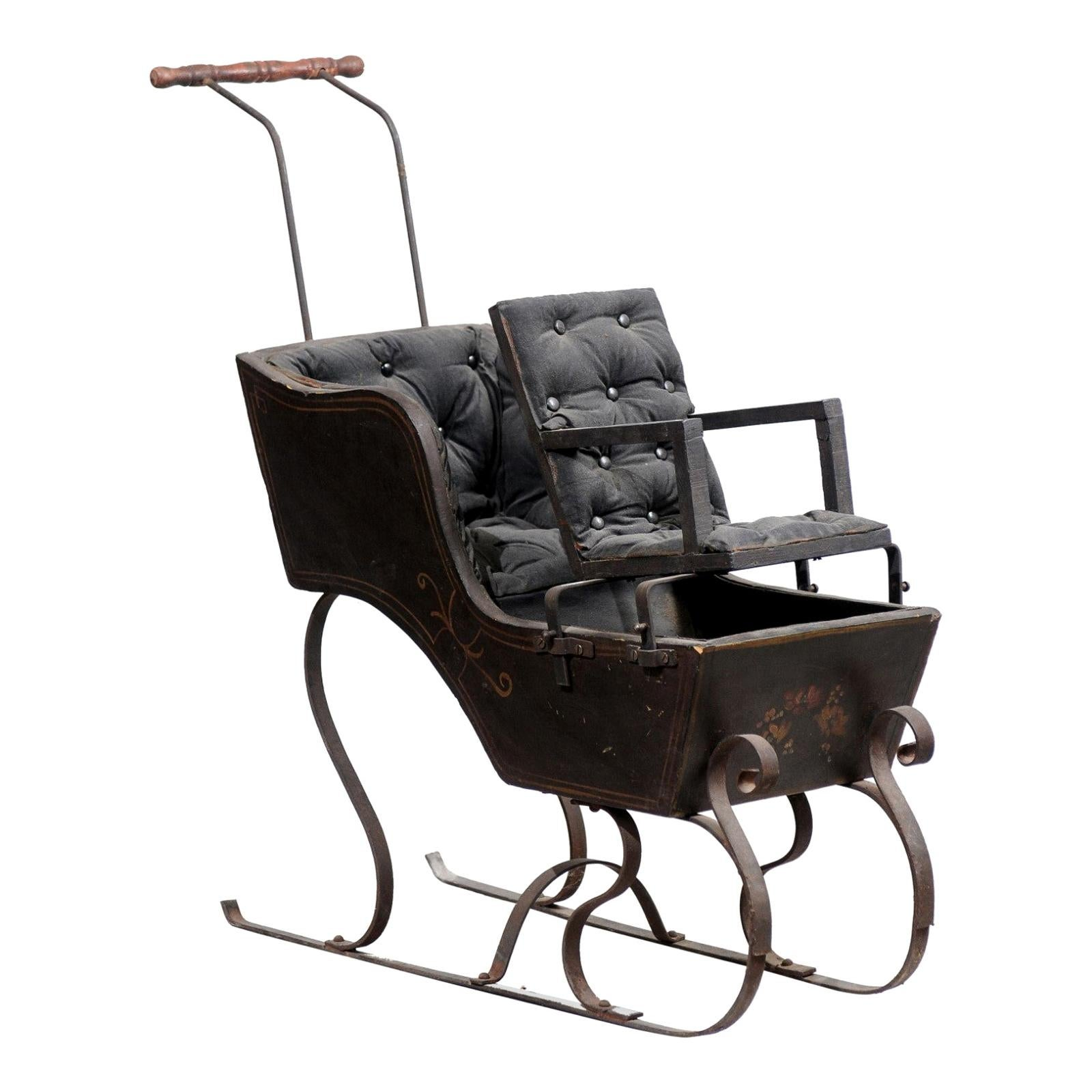 French 19th Century Child's Sleigh with Tufted Upholstery and Floral Décor