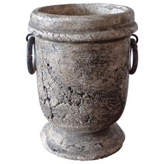 French 19th Century Clay Urn with Two Wrought Iron Handles