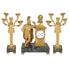 French 19th Century Clock Set with Roman Centurion and Candelabra