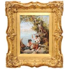 French 19th Century Continental School Painting Depicting Venetian Lagoon Scene