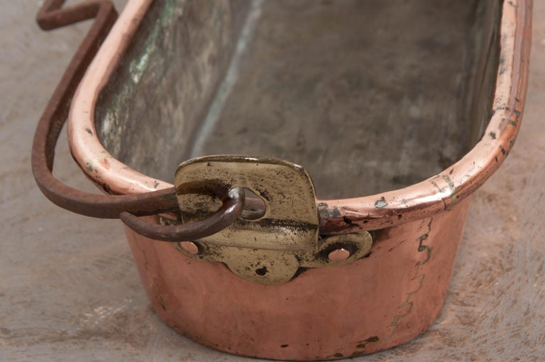 French 19th Century Copper and Brass Fish Kettle For Sale 2