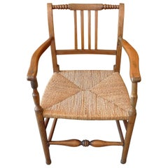 French 19th Century Country Armchair with Rush Seat