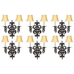 French 19th Century Country French Style Set of Six Wrought Iron Sconces