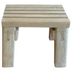 French 19th Century Country Pinewood Slatted Foot-Stool or Small Bench