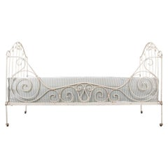 French 19th Century Crème-Painted Iron Campaign Daybed
