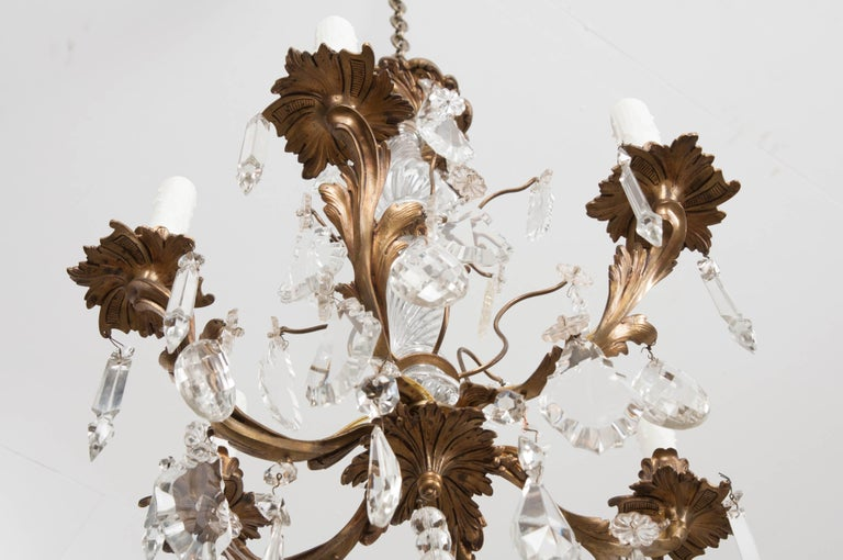 French 19th Century Crystal and Brass Louis XV Style Chandelier For Sale 10