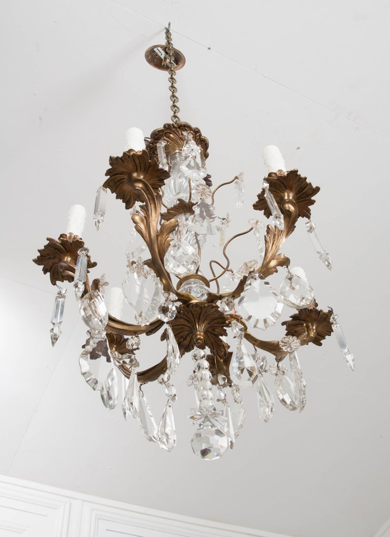 French 19th Century Crystal and Brass Louis XV Style Chandelier For Sale 11