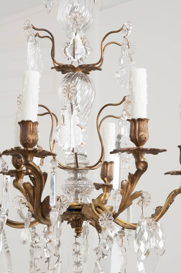 French 19th Century Crystal and Brass Louis XV Style Chandelier In Good Condition For Sale In Baton Rouge, LA