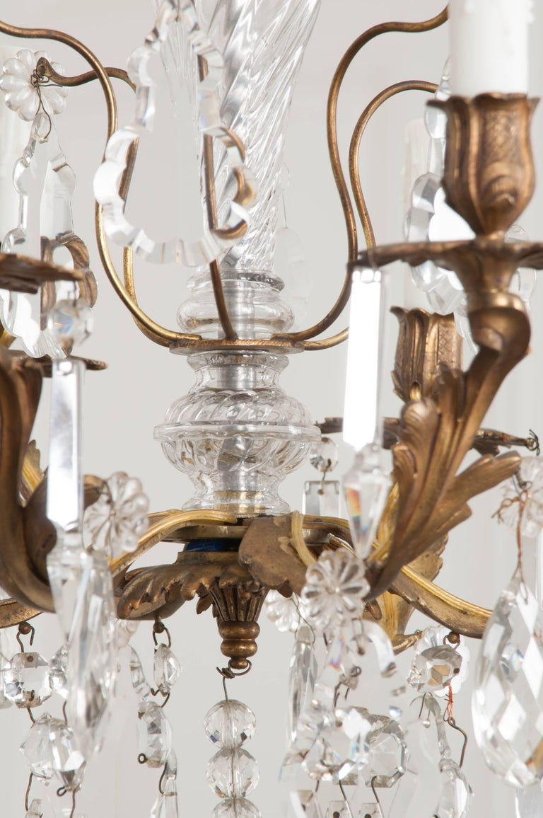 French 19th Century Crystal and Brass Louis XV Style Chandelier For Sale 3