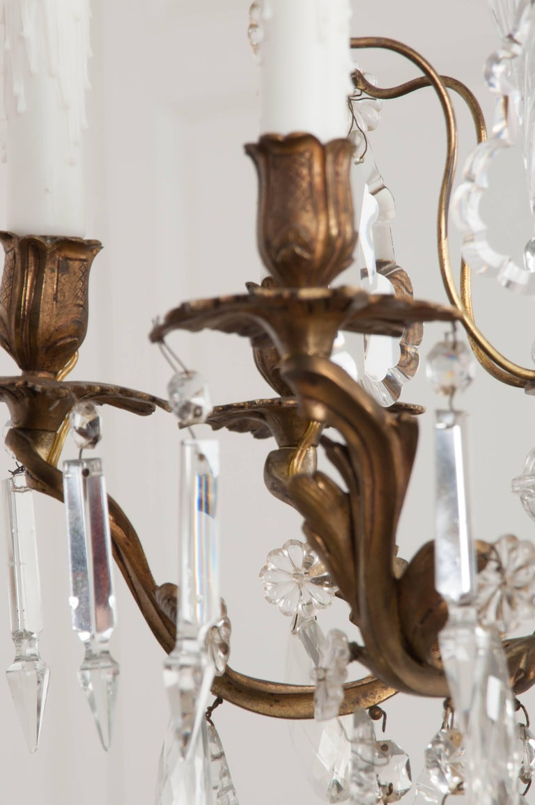 French 19th Century Crystal and Brass Louis XV Style Chandelier For Sale 4