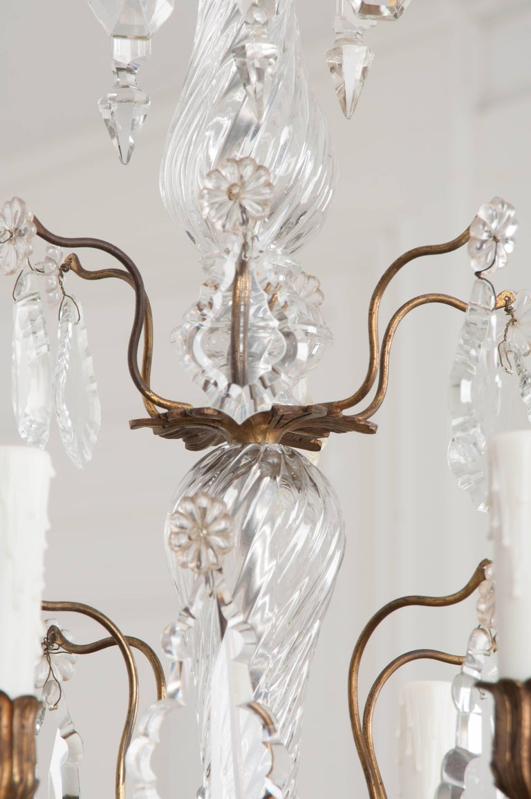 French 19th Century Crystal and Brass Louis XV Style Chandelier For Sale 5