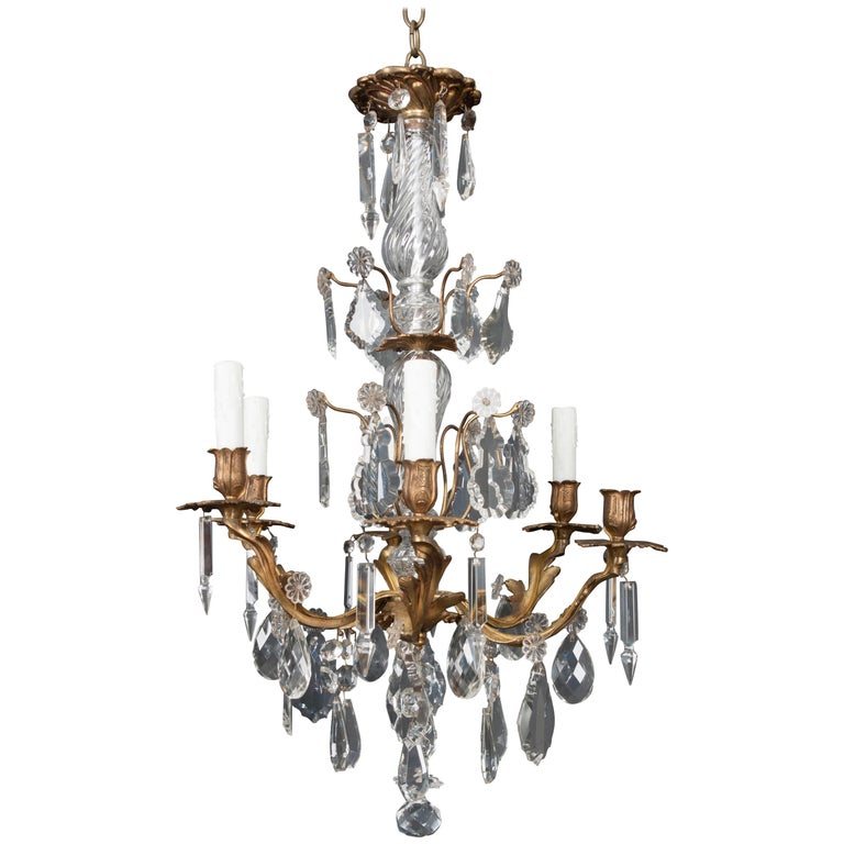 French 19th Century Crystal and Brass Louis XV Style Chandelier For Sale