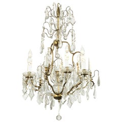 French 19th Century Crystal and Bronze Six-Light Chandelier with Obelisks