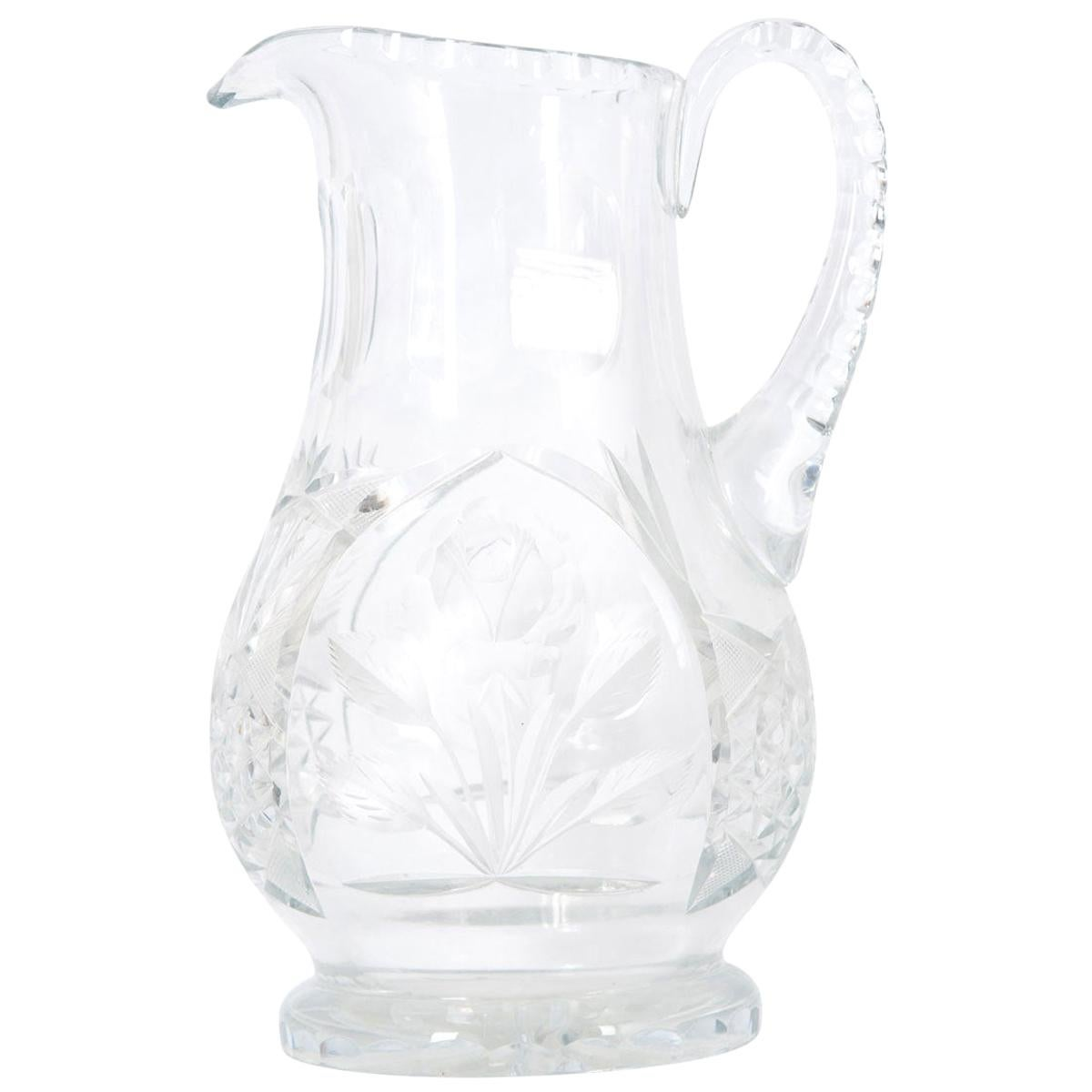 French 19th Century Cut Crystal Pitcher