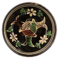 French 19th Century Dark Brown Glazed Pottery Plate with Fish and Floral Décor