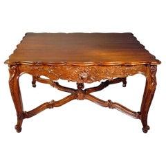 French 19th Century Dark Oak Center Table