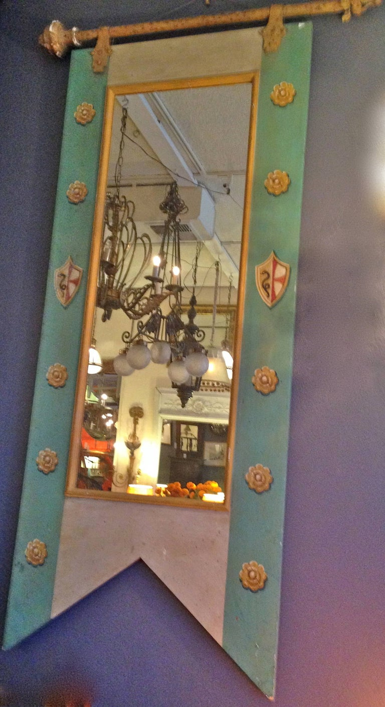 French 19th century decorative mirror with original painted wood framed and new glass.