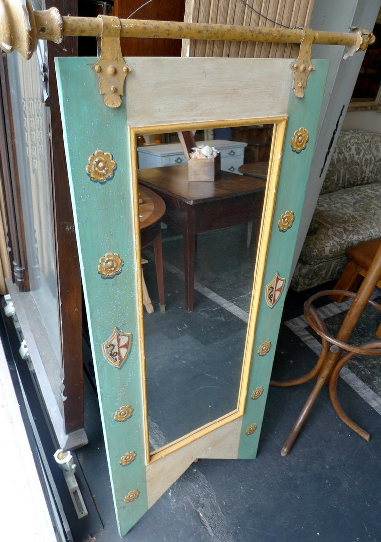 French 19th Century Decorative Mirror with Original Painted Frame and New Glass In Distressed Condition For Sale In Santa Monica, CA