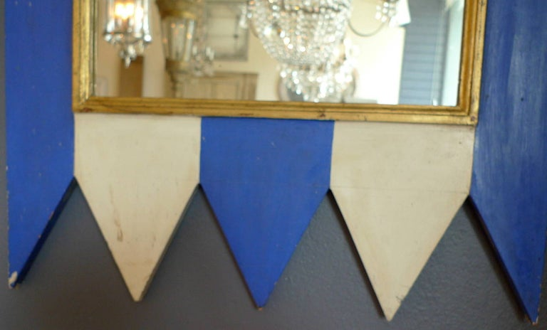 French 19th century decorative painted wood framed mirror with new mirror glass.