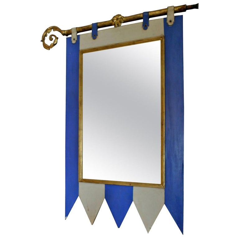 French 19th Century Decorative Painted Wood Framed Mirror with New Mirror Glass For Sale