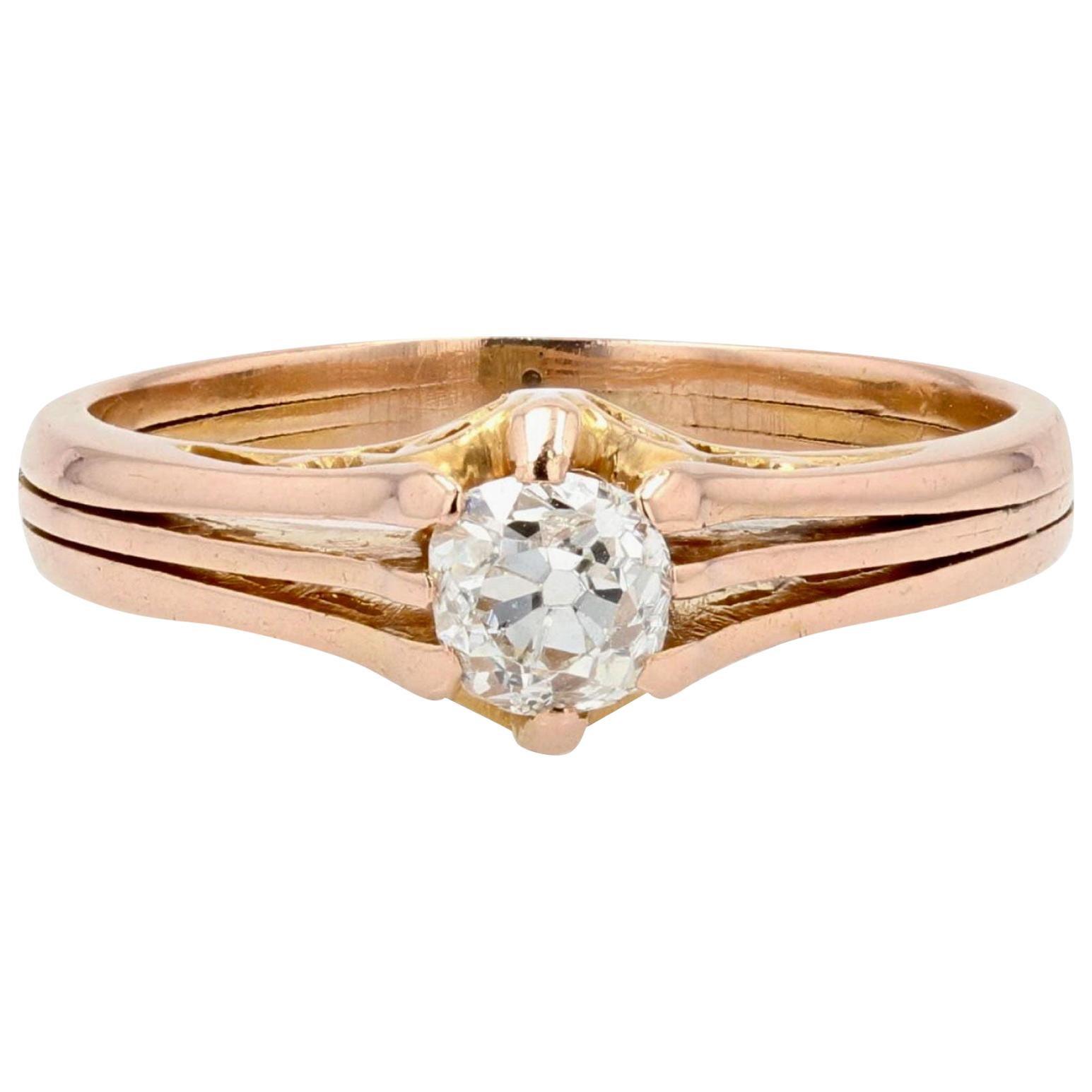 French 19th Century Diamond 18 Karat Rose Gold Solitaire Ring