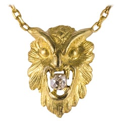 French 19th Century Diamond 18 Karat Yellow Gold Owl Pendant