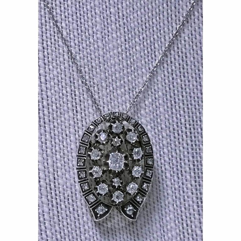 French 19th Century Diamond Brooch Pendant, circa 1870 For Sale 2