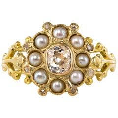French 19th Century Diamond Natural Pearls 18 Karat Yellow Gold Ring