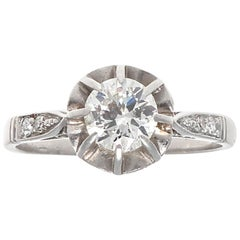 French 19th Century Diamond Platinum Engagement Ring