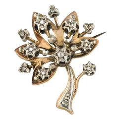 French 19th Century Diamond Rose Gold Tree Brooch