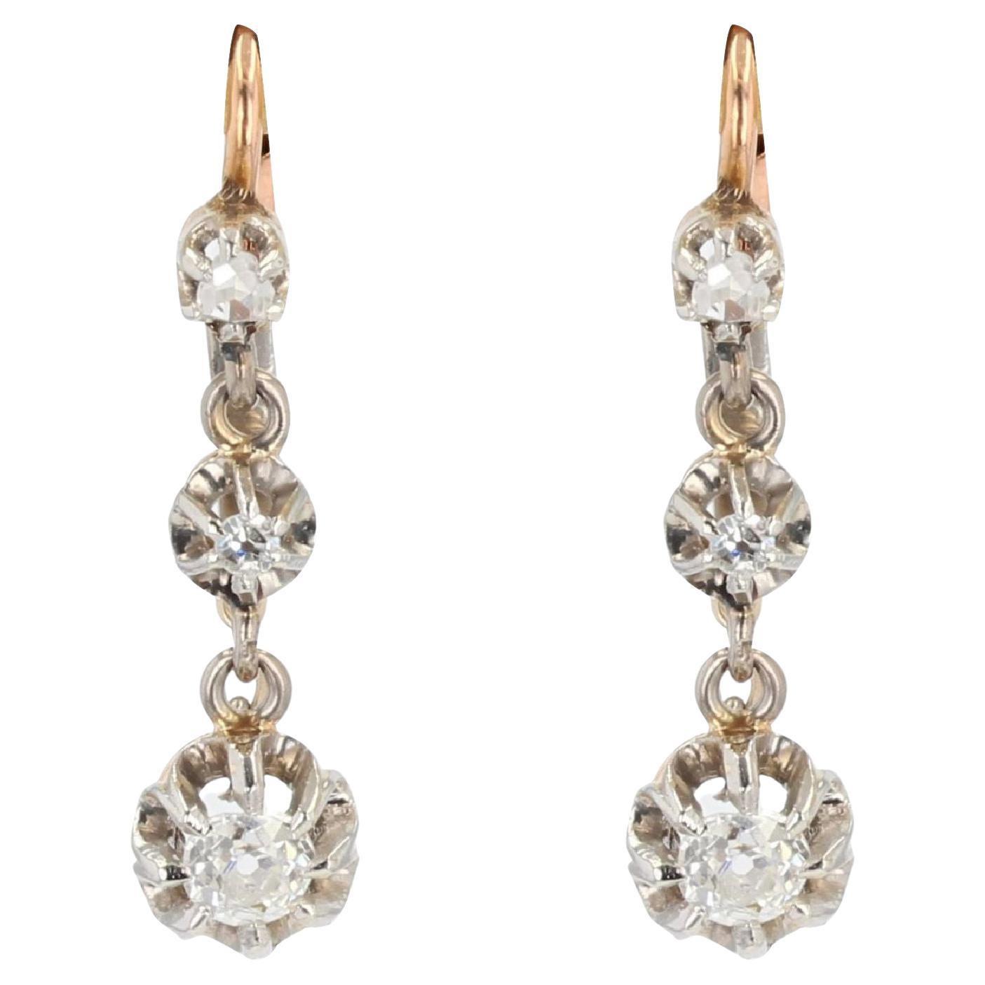 French 19th Century Diamonds 18 Karat Rose Gold Dangle Earrings