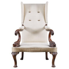 French 19th Century Dolphin Arm Hardwood Library Chair