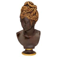 French 19th Century Egyptian Revival St. Bronze and Ormolu Bust