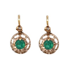 French 19th Century Emerald Diamonds 18 Karat Rose Gold Lever Back Earrings
